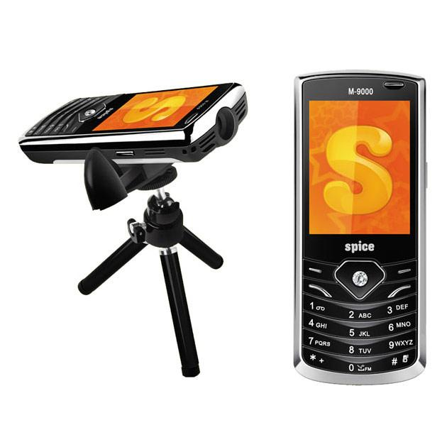 Spice Popkorn Approx. Price-6000 SIM-Dual SIM Weight-123 gm Screen size-2.3 inch Storage -Micro SD up to 16 GB Camera (shooting)-3.2 MP Battery Average Talktime Standby Life-1200 mAh 3 hour 300 hour Connectivity-GPRS, EDGE, Bluetooth, microUSB Projector-Built-in projector with tripod Other-Document reader, FM radio with recording Social networking apps
