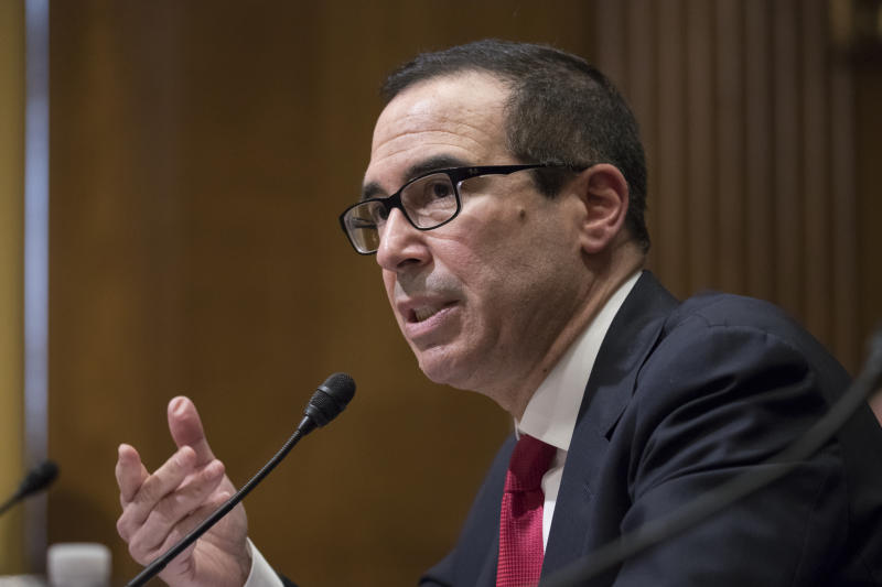 The Latest: Mnuchin sworn in as treasury secretary