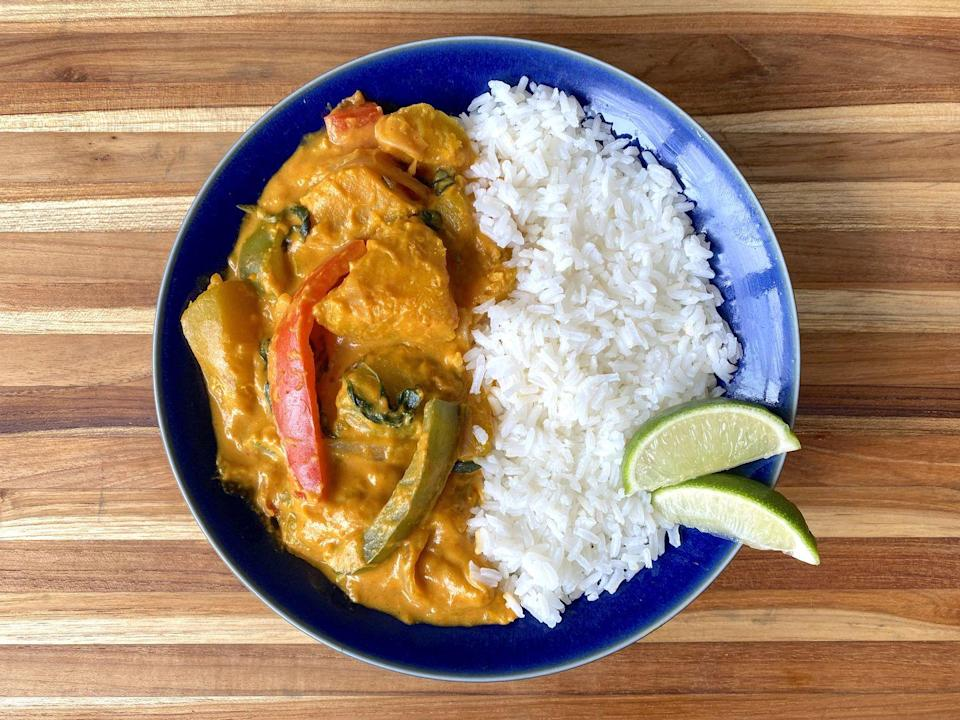 """<p>Give your fall cooking a Thai twist.</p><p>Get the recipe from <a href=""""https://www.delish.com/cooking/recipe-ideas/a36983076/pumpkin-curry-recipe/"""" rel=""""nofollow noopener"""" target=""""_blank"""" data-ylk=""""slk:Delish"""" class=""""link rapid-noclick-resp"""">Delish</a>.</p>"""