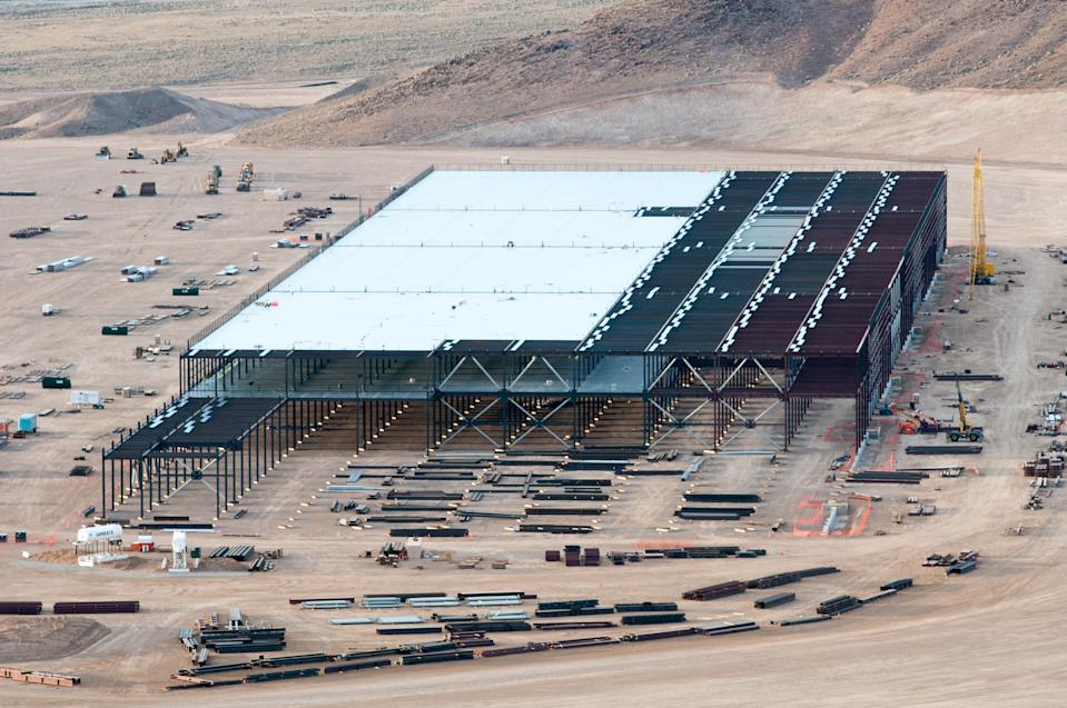 RENO, NEV - MARCH 25:  Construction on the Tesla Motors Gigafactory east of Reno, Nev., March 25, 2015. (Photo by David Calvert/For The Washington Post via Getty Images)