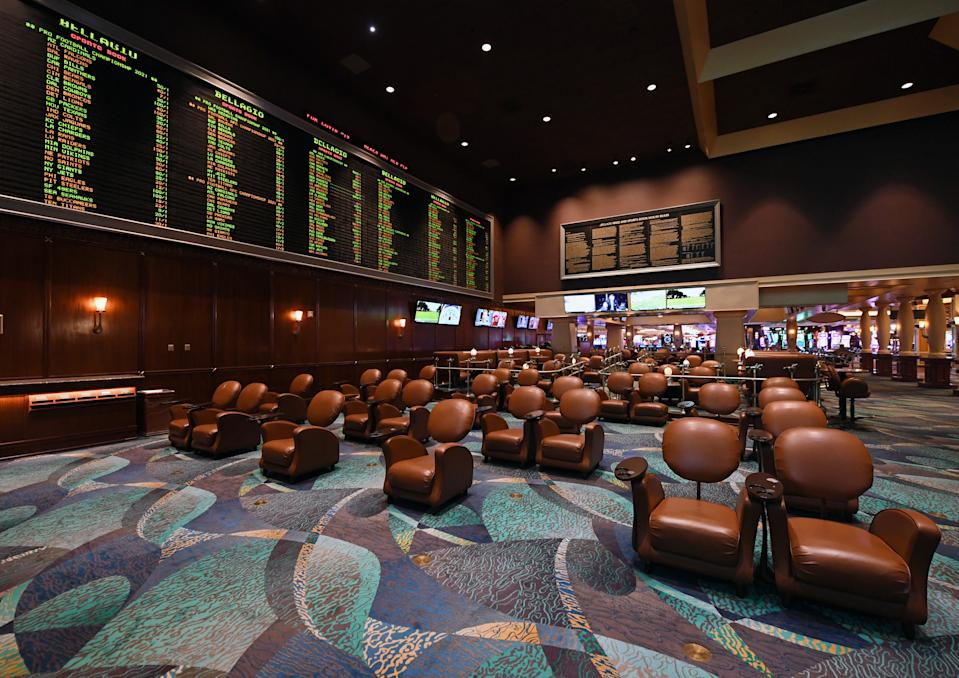 Chairs are spaced out for social distancing at the BetMGM Sports Book at Bellagio Resort & Casino. (Photo by Ethan Miller/Getty Images)