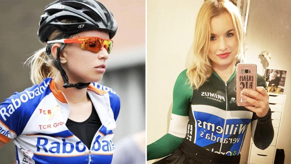 Tara Gins, pictured here during her professional cycling days.