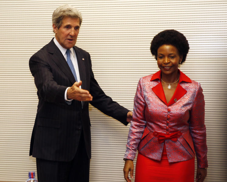 US Secretary of State John Kerry meets with South African Foreign Minister Maite Nkoana-Mashabane in Addis Ababa, Ethiopia, Saturday May 25, 2013. Making his first official trip to sub-Saharan Africa, Kerry on Saturday demanded that Nigeria respect human rights as it cracks down on Islamist extremists and pledged to work hard in the coming months to ease tensions between Sudan and South Sudan. (AP Photo/Jim Young, pool)