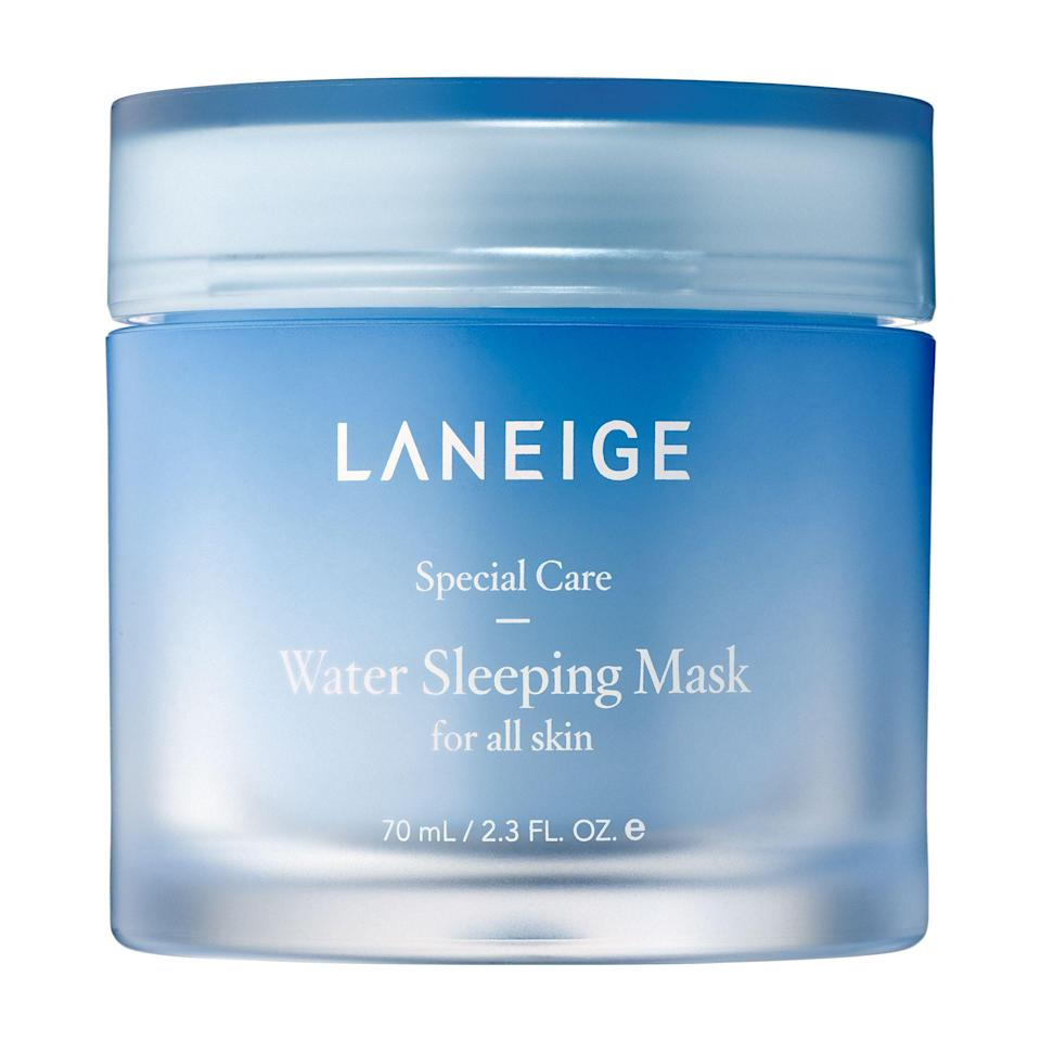 "<p><strong>LANEIGE</strong></p><p>sephora.com</p><p><strong>$25.00</strong></p><p><a href=""https://go.redirectingat.com?id=74968X1596630&url=https%3A%2F%2Fwww.sephora.com%2Fproduct%2Fwater-sleeping-mask-P420651&sref=https%3A%2F%2Fwww.goodhousekeeping.com%2Fbeauty%2Fanti-aging%2Fg34740786%2Fkorean-face-masks%2F"" rel=""nofollow noopener"" target=""_blank"" data-ylk=""slk:Shop Now"" class=""link rapid-noclick-resp"">Shop Now</a></p><p><strong>Formulated with highly concentrated mineral water</strong>, this overnight face mask packs a punch of moisture to dehydrated skin. ""This mask leaves my skin dewy, nourished, and so smooth in the morning,"" writes one reviewer. It has a thinner and looser consistency compared to masks and easily absorbs into the skin. </p>"
