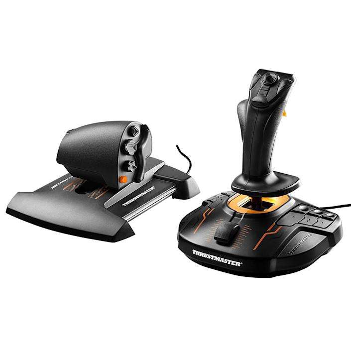 """<p><strong>THRUSTMASTER</strong></p><p>amazon.com</p><p><strong>$211.95</strong></p><p><a href=""""https://www.amazon.com/dp/B01KCHPRXA?tag=syn-yahoo-20&ascsubtag=%5Bartid%7C10060.g.36342642%5Bsrc%7Cyahoo-us"""" rel=""""nofollow noopener"""" target=""""_blank"""" data-ylk=""""slk:Shop Now"""" class=""""link rapid-noclick-resp"""">Shop Now</a></p><p>The Thrustmaster T.16000M Hotas is a great entry-level pick for folks who have caught the flight bug, and want more precision, flexibility, and customization. With more programmable buttons and hat switches between the stick and throttle, you can really customize your aircraft control without costing a fortune.</p><p>It also has a few standout features that set it above the entry-level crowd. The stick is ambidextrous, with the buttons all central and symmetrical, and the stick grips swappable to either side of the stick. The throttle also includes a rotary knob, allowing for easy adjustment to trim during flight. This model supports Z-axis rotation.</p>"""