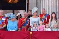 <p>The whole family gathered for Trooping the Colour, the Queen's birthday celebration. While it was Meghan Markle's first rodeo, Kate has been a regular on the Buckingham Palace balcony for years.</p>