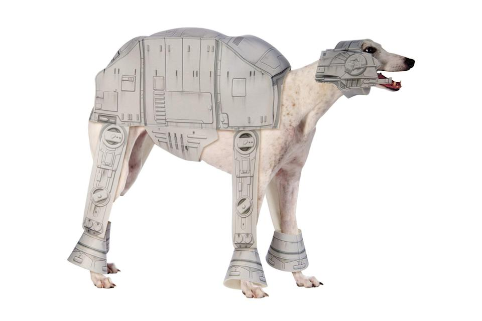 "<p>This is <em>Star Wars</em>' AT-AT Walker at its most fetching. </p> <p><strong>Buy it!</strong> AT-AT Walker Pet Costume, $29.99; <a href=""https://www.halloweencostumes.com/at-at-imperial-walker-pet-costume.html"" rel=""nofollow noopener"" target=""_blank"" data-ylk=""slk:HalloweenCostumes.com"" class=""link rapid-noclick-resp"">HalloweenCostumes.com</a></p>"