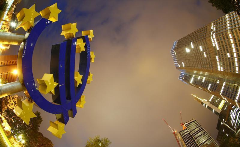 The euro sign landmark is seen at the headquarters of the European Central Bank (ECB) in Frankfurt