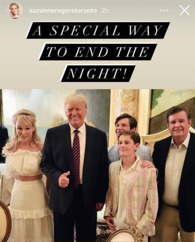 The Rogers family is pictured with former U.S. president Donald Trump in an Instagram story with the caption, 'A special way to end the night!'