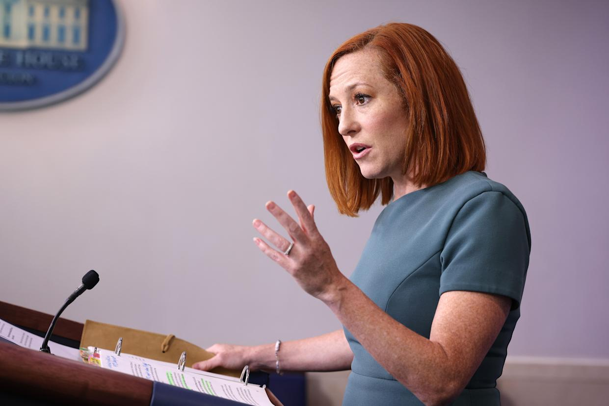 White House Press Secretary Jen Psakis gestures during a press conference in the James Brady Press Briefing Room of the White House on May 20, 2021 in Washington, DC. (Anna Moneymaker/Getty Images)