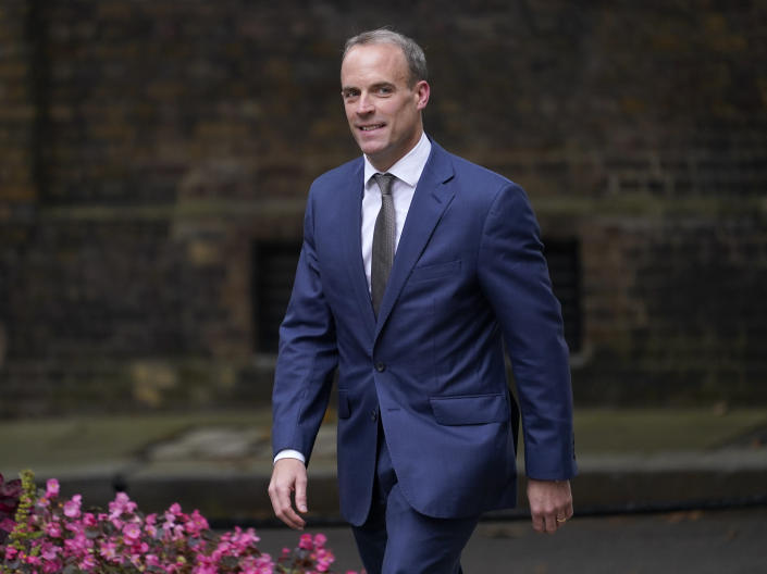 Britain's Foreign Secretary Dominic Raab arrives at 10 Downing Street, in London, Wednesday, Sept. 15, 2021. Raab lost his job as foreign secretary in a cabinet reshuffle by British Prime Minister Boris Johnson on Wednesday. (AP Photo/Alberto Pezzali)