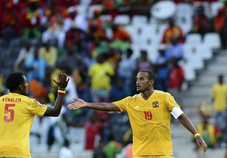 Ethiopia's Girma Gebrayes (R) celebrates after scoring against Zambia in Nelspruit on January 21, 2013. Ethiopia will be looking to further their cause when they take on Burkina Faso on Friday