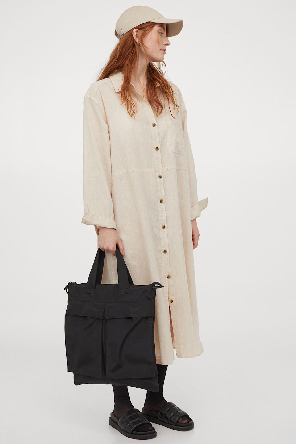 <p>You'll feel at ease traveling in this <span>Linen-Blend Shirt Dress</span> ($32, originally $40).</p>
