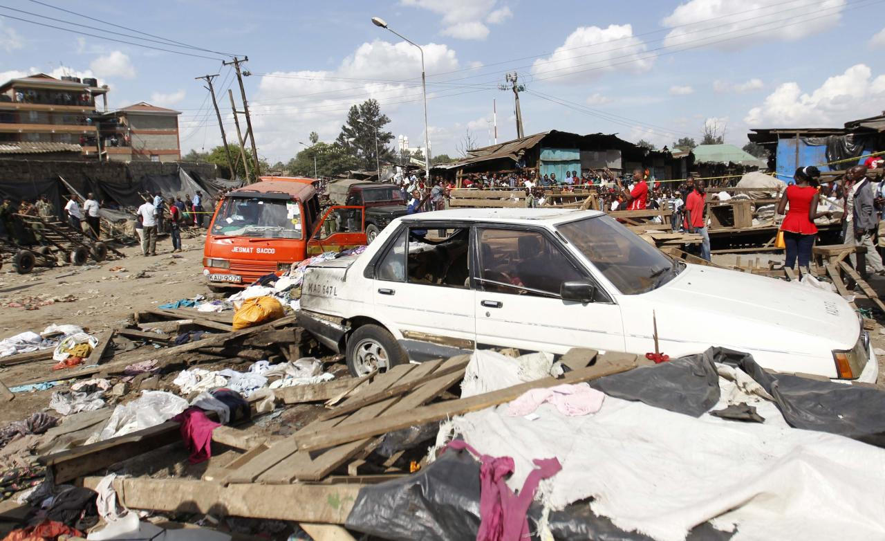 A general view showing the destruction after a twin explosion at the Gikomba open-air market for second-hand clothes in Kenya's capital Nairobi May 16, 2014. At least four people were killed on Friday in two explosions in the Kenyan capital Nairobi, the country's National Disaster Operations Centre (NDOC) said. REUTERS/Thomas Mukoya (KENYA - Tags: SOCIETY DISASTER CRIME LAW CIVIL UNREST)