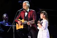 <p>Andrea Bocelli is joined onstage by his daughter Virginia during a performance in Tabuk, Saudi Arabia on Thursday.</p>