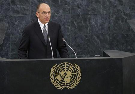 Letta, Prime Minister of Italy, addresses the 68th United Nations General Assembly at U.N. headquarters in New York
