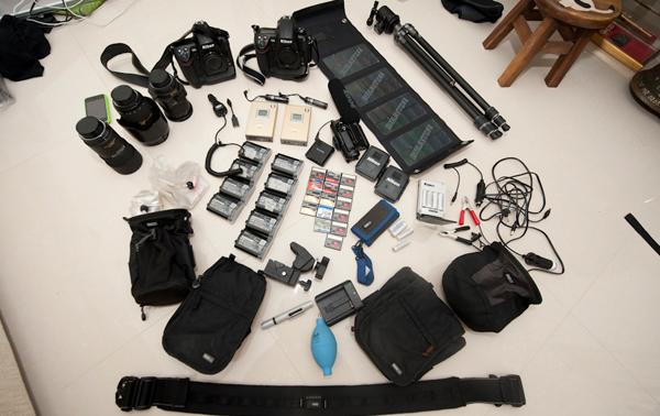 Chow was carrying 70-kg while climbing Denali. His camera equipment (pictured above) weighed 20-kg. (Stefen Chow photo)