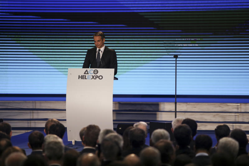 Greece's Prime Minister Kyriakos Mitsotakis delivers a speech during the Thessaloniki International Fair at the northern city of Thessaloniki, Saturday, Sept. 7, 2019. Mitsotakis outlined his economic policies for the next year, as heads of government have traditionally done over the years. (AP Photo/Giannis Papanikos)