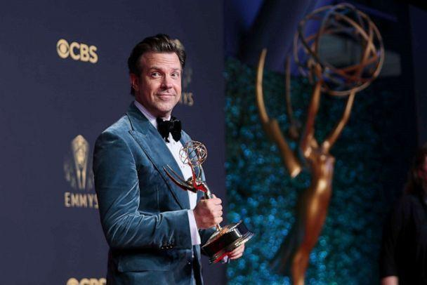 PHOTO: Jason Sudeikis poses for a photo with the award for outstanding lead actor in a comedy series for 'Ted Lasso' at the 73rd Emmy Awards on Sept. 19, 2021, in Los Angeles. (Danny Moloshok/Invision for the Television Academy via AP)