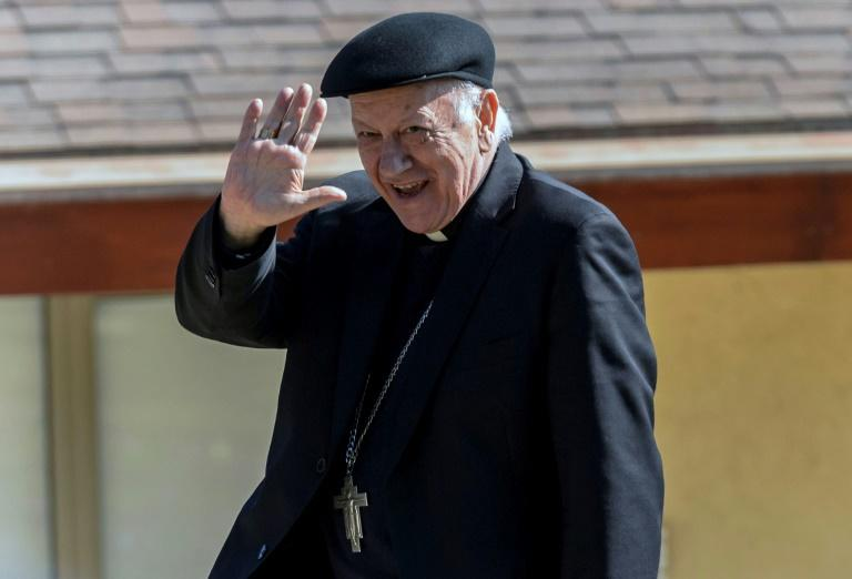 Santiago's Archbishop Ricardo Ezzati is pictured as he leaves a convention center in Punta de Tralca, west of Santiago, after holding a meeting with members of the Chilean Episcopal Conference, on August 3, 2018