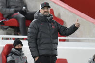 Liverpool's manager Jurgen Klopp gestures during the English Premier League soccer match between Liverpool and Leicester City at Anfield stadium in Liverpool, England, Sunday, Nov. 22, 2020. (Peter Powell/Pool via AP)
