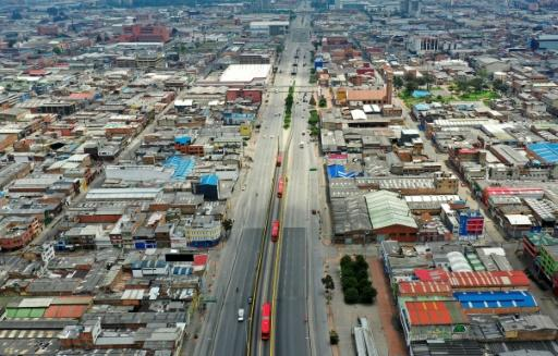 The streets of the Colombian capital Bogota were empty on the first day of a lockdown to prevent the spread of the COVID-19 virus