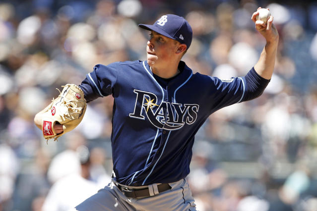 Tampa Bay Rays pitcher Ryan Yarbrough delivers a pitch during the fourth inning of a baseball game against the New York Yankees on Saturday, June 16, 2018, in New York. (AP Photo/Adam Hunger)