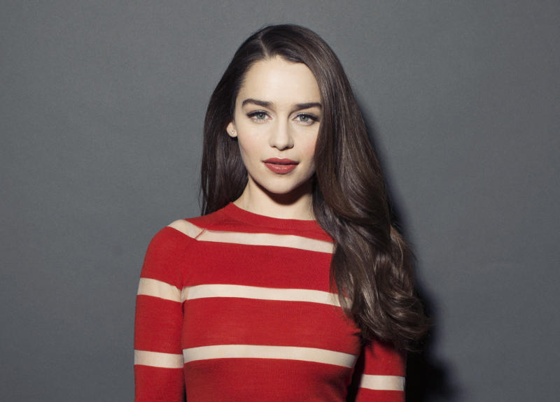"This March 14, 2013 photo shows British actress Emilia Clarke posing for a portrait in New York. Clarke, best known for her role in the HBO series, ""Game of Thrones,"" is currently starring in the Broadway production of ""Breakfast at Tiffany's."" (Photo by Victoria Will/Invision/AP)"