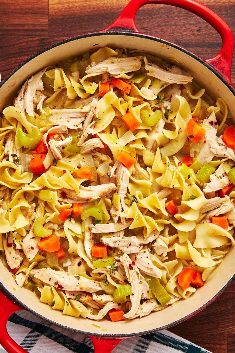 """<p>A unique take on a classic, use shredded turkey instead of chicken.</p><p><em><a href=""""https://www.delish.com/cooking/recipe-ideas/a29089192/turkey-noodle-soup-recipe/"""" rel=""""nofollow noopener"""" target=""""_blank"""" data-ylk=""""slk:Get the recipe from Delish »"""" class=""""link rapid-noclick-resp"""">Get the recipe from Delish »</a></em></p>"""