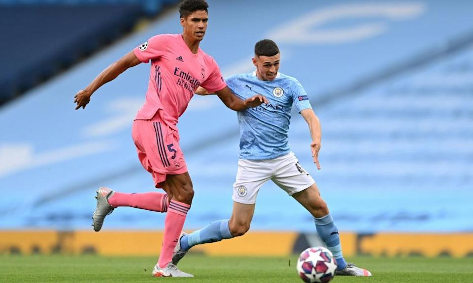Phil Foden (right) has grown into a player capable of taking on Europe's best defenders in the Champions League.