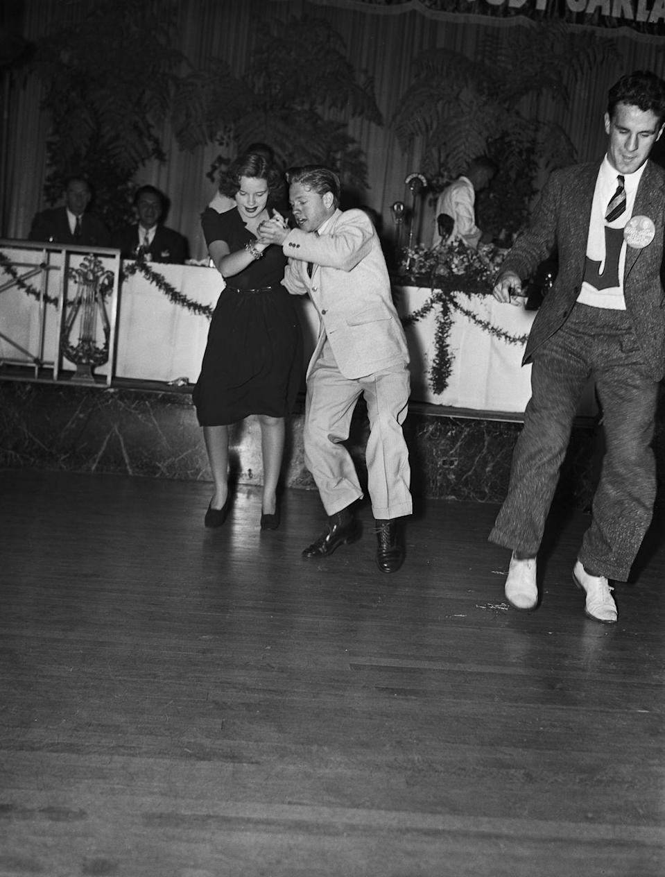 <p>Here, Judy and Mickey do the jitterbug, a popular dance of the time. </p>