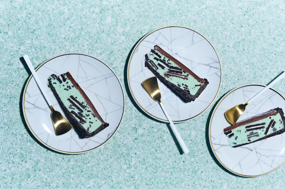"""It's crucial that this tart be frozen solid before slicing. If you are in and out of your freezer a lot, that may take longer than one day; err on the safe side! <a href=""""https://www.bonappetit.com/recipe/chocolate-grasshopper-ice-cream-tart?mbid=synd_yahoo_rss"""" rel=""""nofollow noopener"""" target=""""_blank"""" data-ylk=""""slk:See recipe."""" class=""""link rapid-noclick-resp"""">See recipe.</a>"""