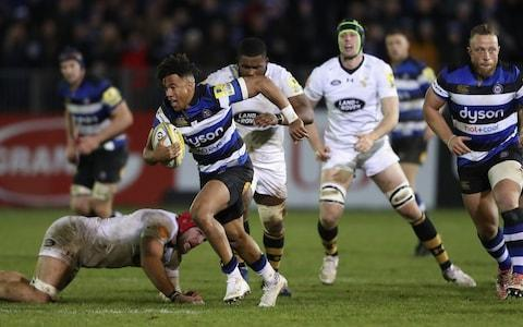<span>Bath's Anthony Watson breaks clear for Bath against Wasps on Friday</span>
