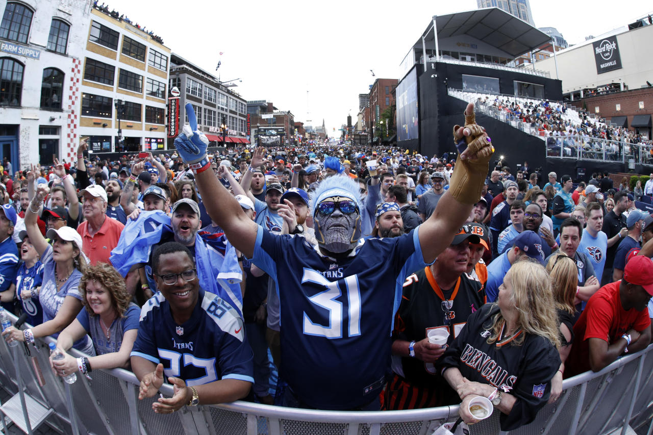 NASHVILLE, TN - APRIL 25: Fans gather prior to the start of the first round of the NFL Draft on April 25, 2019 in Nashville, Tennessee. (Photo by Joe Robbins/Getty Images)