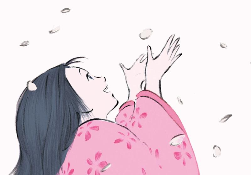Princess Kaguya dances among cherry-blossom petals. (Studio Ghibli)