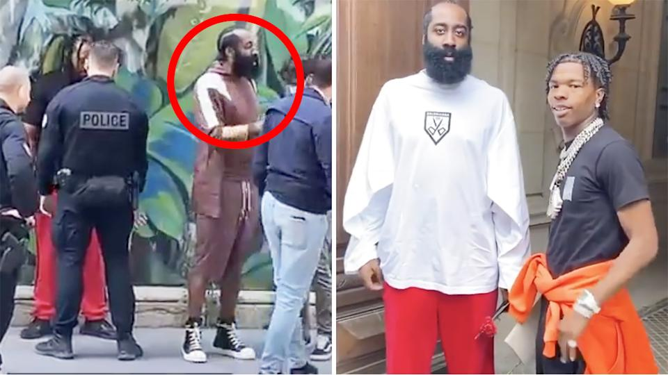 James Harden was frisked by French police after encountering friend and rapper Lil Baby, who had been pulled over and was later arrested for alleged possession of cannabis. Pictures: Instagram