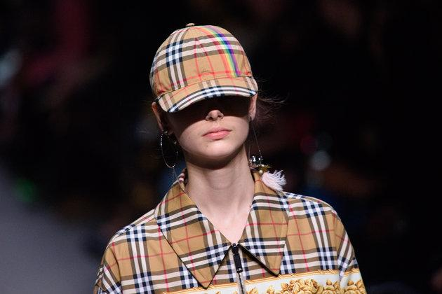 A model on the catwalk at the Burberry London Fashion Week show in February