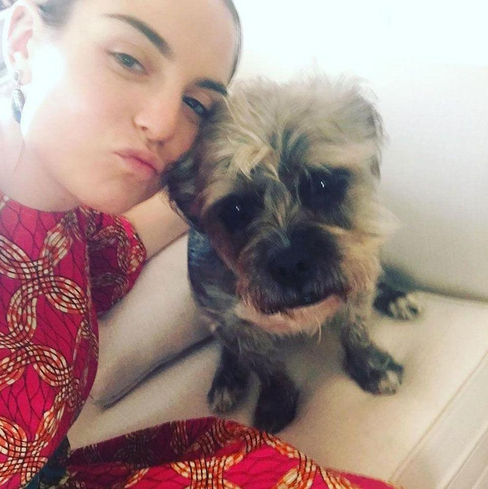 """<p>The singer posted this adorable pic with the caption: """"Both of us are makeup free for Easter 🔑🐶"""". </p>"""