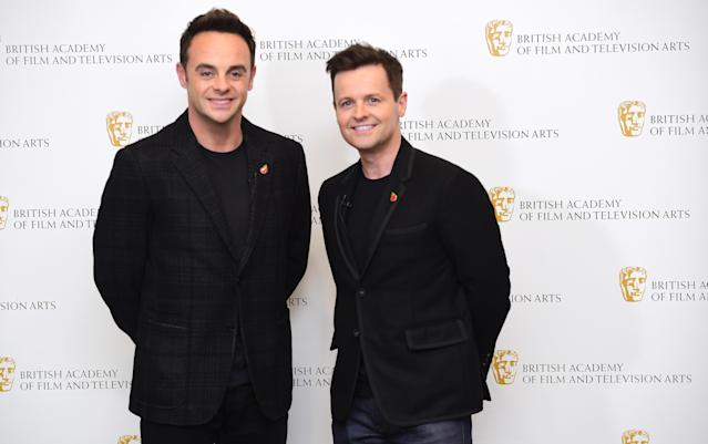 Anthony McPartlin and Declan Donnelly at a BAFTA TV preview of Ant and Dec's DNA Journey in London. (Ian West/PA Images via Getty Images)
