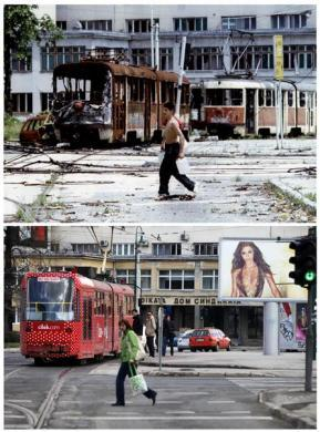 A Bosnian teenager carrying containers of water, walks in front of destroyed trams at Skenderia square in the besieged Bosnian capital of Sarajevo, in this file picture taken June 22, 1993 (top), and a woman passes through the same square, in this combination picture made April 4, 2012.