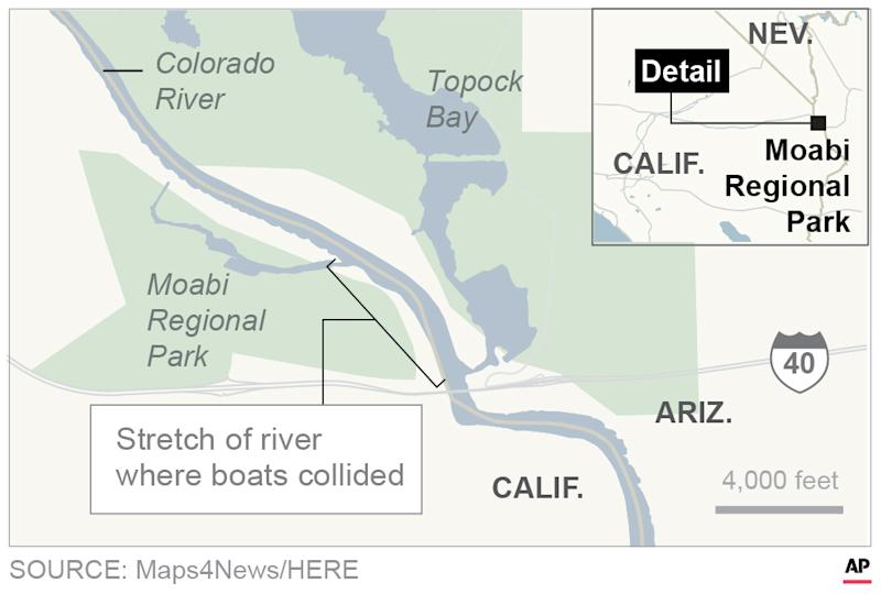Map locates where boats collide on Colorado River.; 2c x 3 inches; 96.3 mm x 76 mm;