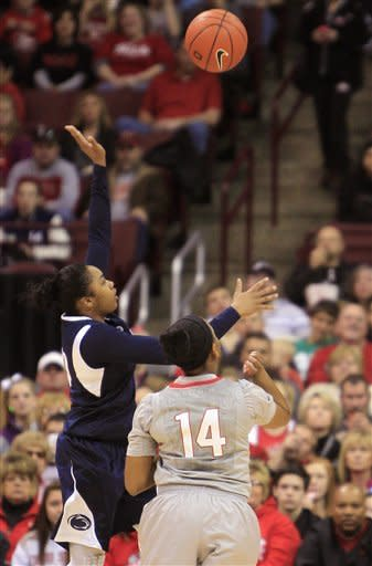 Penn State's Alex Bentley, left, shoots over Ohio State's Ameryst Alston during the first half of an NCAA college basketball game on Sunday, Jan. 27, 2013, in Columbus, Ohio. (AP Photo/Jay LaPrete)