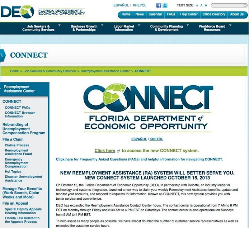 A screenshot of CONNECT, Florida's $63 million unemployment insurance website.
