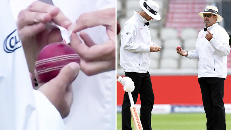 Umpures, pictured here sanitising the ball during England's clash with West Indies.