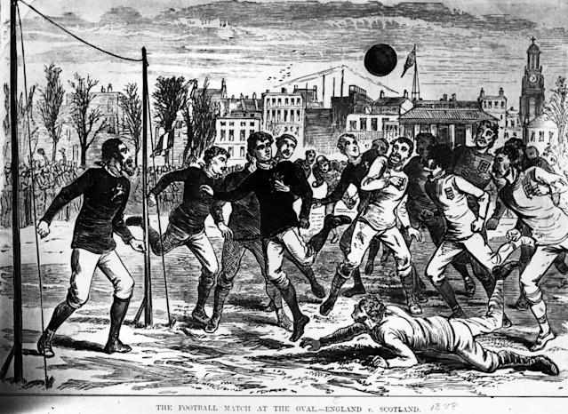 This image shows football at The Oval in 1872 – by which time a crossbar made of tape had been added