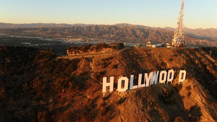 GRIFFITH PARK, CA NOVEMBER 4, 2014 -- Aerial view of the Hollywood Sign atop Mount Lee in Griffith Park taken on November 4, 2014. (Wally Skalij / Los Angeles Times)