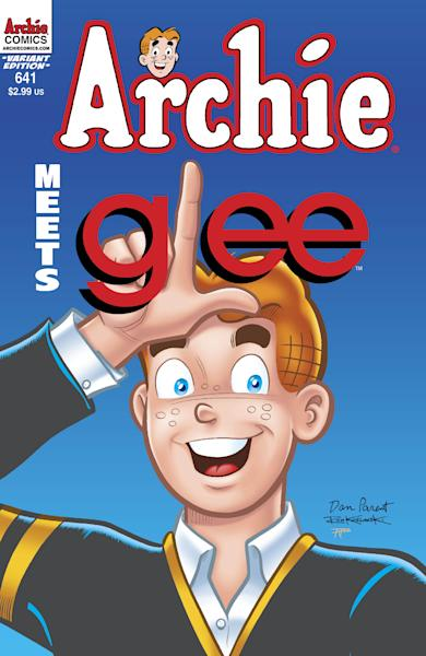 """This comic book image released by Archie Comic Publications, Inc. shows one of the cover images for the """"Archie Meets Glee,"""" issues. Roberto Aguirre-Sacasa, who writes for """"Glee"""", penned the four-issue story arc """"Archie Meets Glee"""" that sees Riverdale and McKinley cross dimensions in a crossover crash that blends the snark of the television show and the long-standing wholesomeness of Archie, Jughead and Betty, among others. The two worlds combine this week in the pages of """"Archie Comics"""" No. 641 and extends through issue 644. (AP Photo/Archie Comic Publications, Inc.)"""