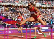 LONDON, ENGLAND - AUGUST 06: Lolo Jones of the United States competes in the Women's 100m Hurdles heat on Day 10 of the London 2012 Olympic Games at the Olympic Stadium on August 6, 2012 in London, England. (Photo by Michael Steele/Getty Images)