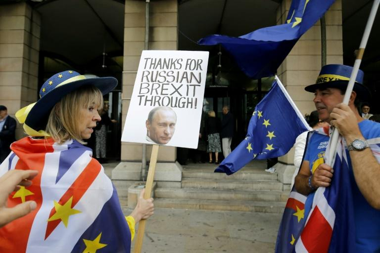Pro-EU demonstrators outside a June 12 British parliamentary hearing on fake news and the Brexit vote
