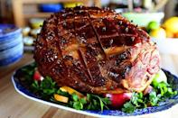 """<p>Just five simple ingredients are needed to flavor this delicious glazed ham. It'll pair perfectly with all your Easter sides.</p><p><a href=""""https://www.thepioneerwoman.com/food-cooking/recipes/a10963/glazed-easter-ham/"""" rel=""""nofollow noopener"""" target=""""_blank"""" data-ylk=""""slk:Get the recipe."""" class=""""link rapid-noclick-resp""""><strong>Get the recipe.</strong></a></p><p><a class=""""link rapid-noclick-resp"""" href=""""https://go.redirectingat.com?id=74968X1596630&url=https%3A%2F%2Fwww.walmart.com%2Fsearch%2F%3Fquery%3Droasting%2Bpans&sref=https%3A%2F%2Fwww.thepioneerwoman.com%2Ffood-cooking%2Fmeals-menus%2Fg35585877%2Feaster-recipes%2F"""" rel=""""nofollow noopener"""" target=""""_blank"""" data-ylk=""""slk:SHOP ROASTING PANS"""">SHOP ROASTING PANS</a></p>"""